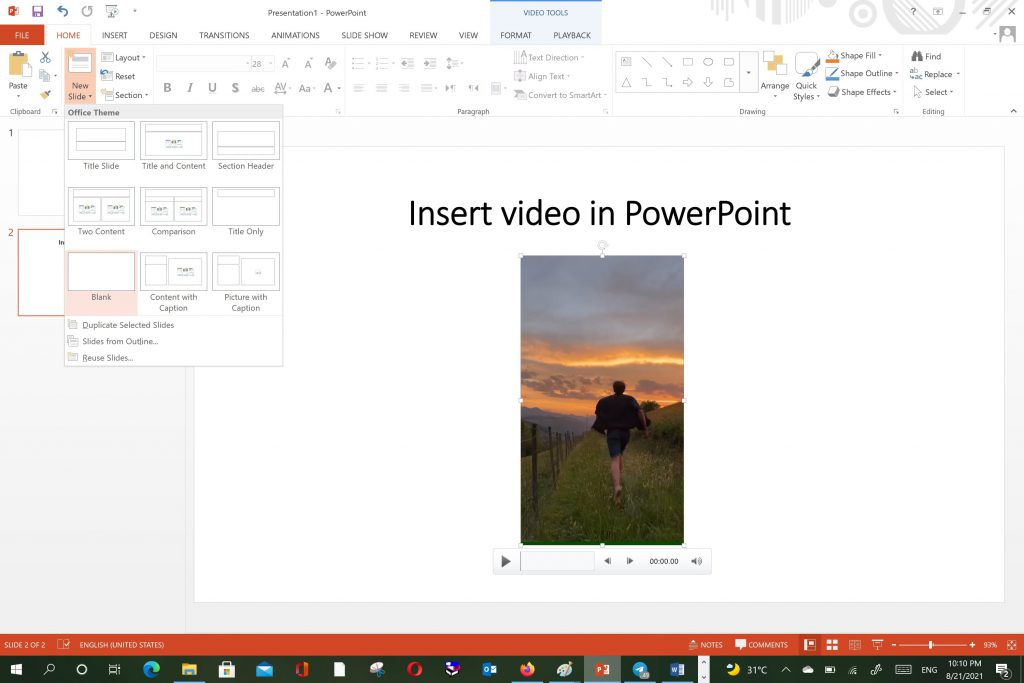 Insert video in PowerPoint using slide content