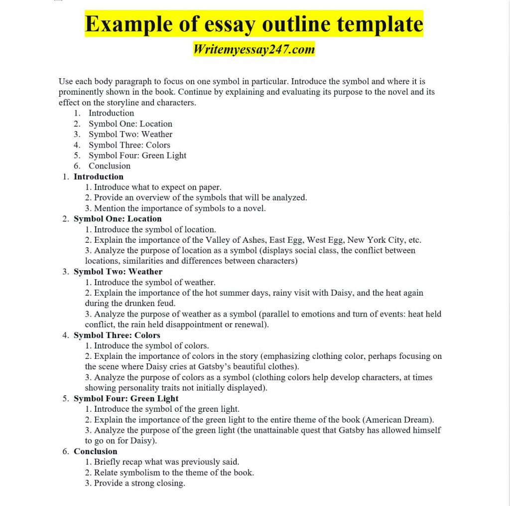 Example of essay outline template