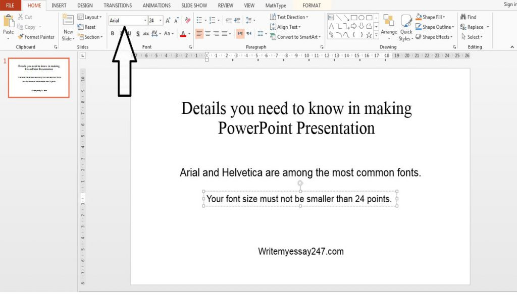 Standard font size for PowerPoint presentation