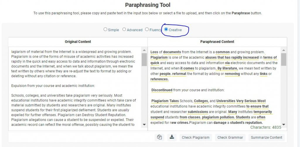General working of a paraphrasing tool