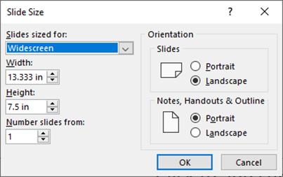 slide size in PowerPoint 2010